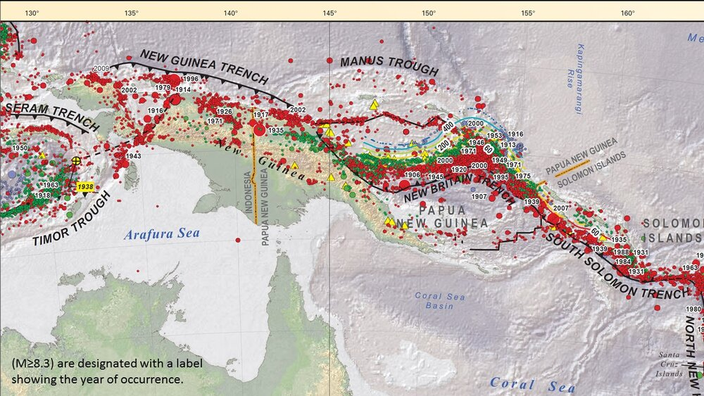Seismicity of the convergent tectonic setting (from USGS). Earthquake foci color coded red (shallow) to yellow (deep).