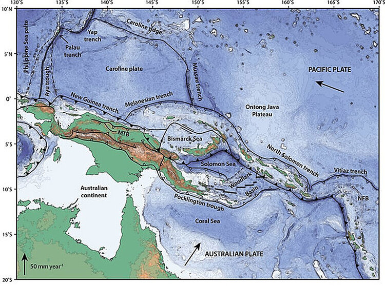 Microplates in convergent boundary between Australian and Pacific Plates. From Holm, RJ et al., 2016, Post 8 Ma reconstruction of Papua New Guinea and Solomon Islands: Earth-Science Reviews.