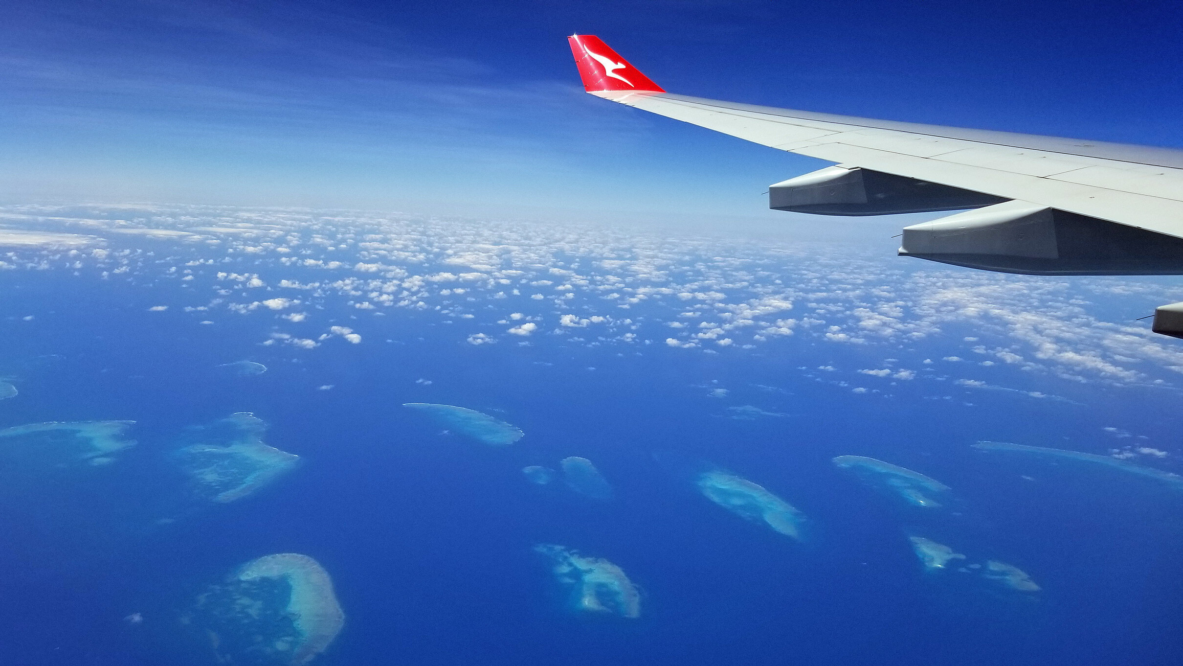 The northern part of the Great Barrier Reef system.  I like the Qantas logo.