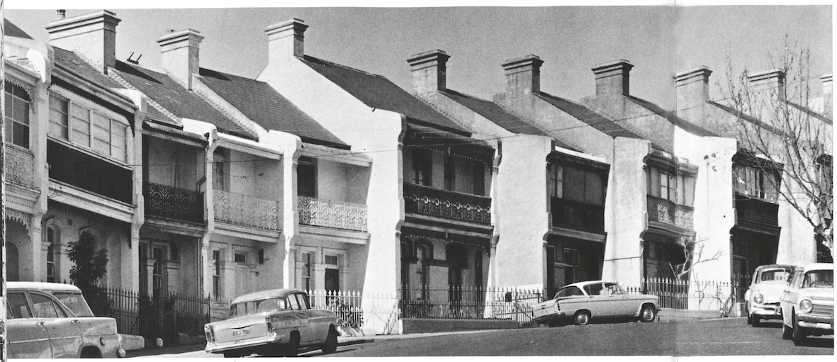 Terrace houses in Liverpool St, Paddington, c1970, Mitchell Library, State Library of NSW.