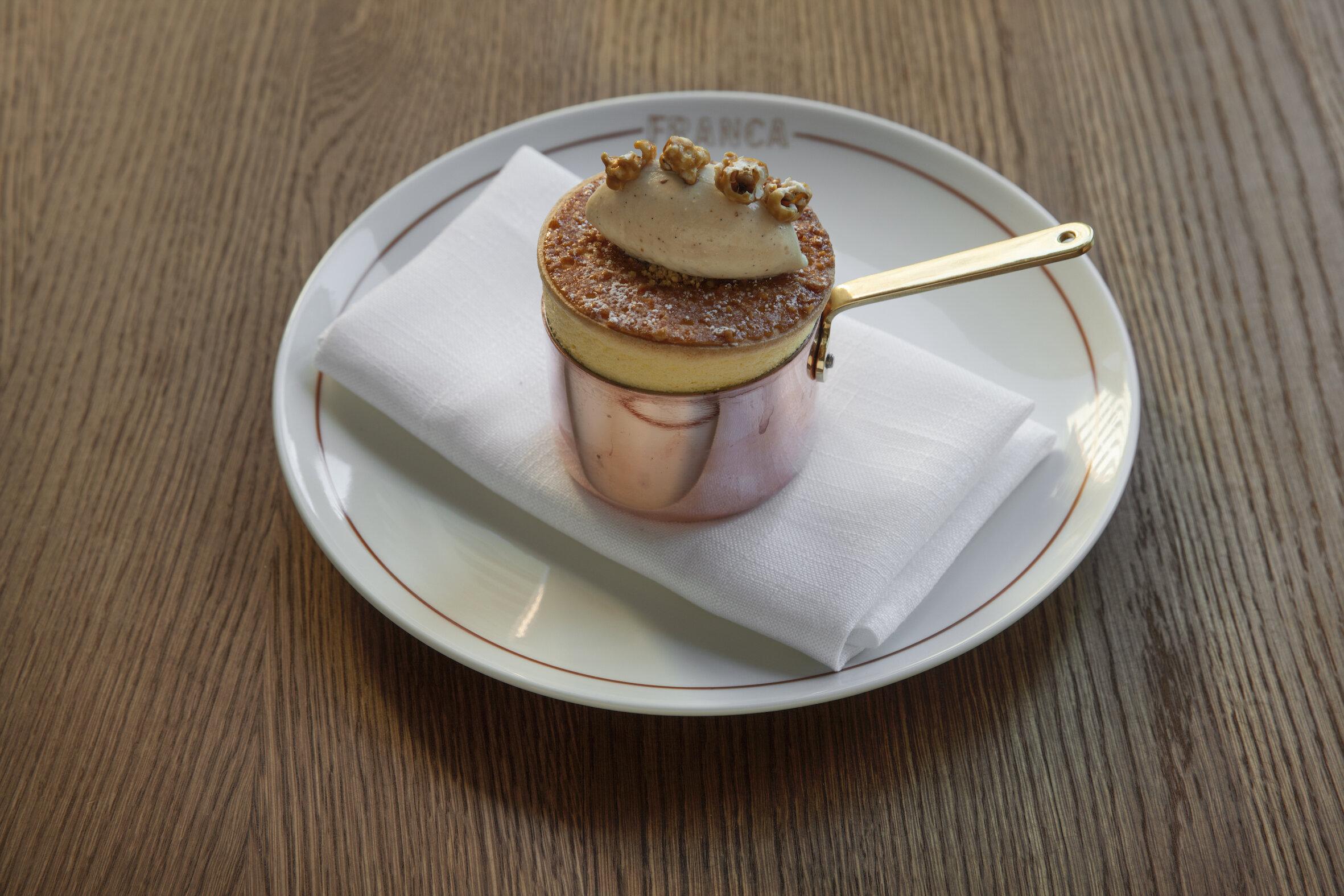Passionfruit Soufflé, Almond craquelin, Pop Corn Ice Cream.jpg