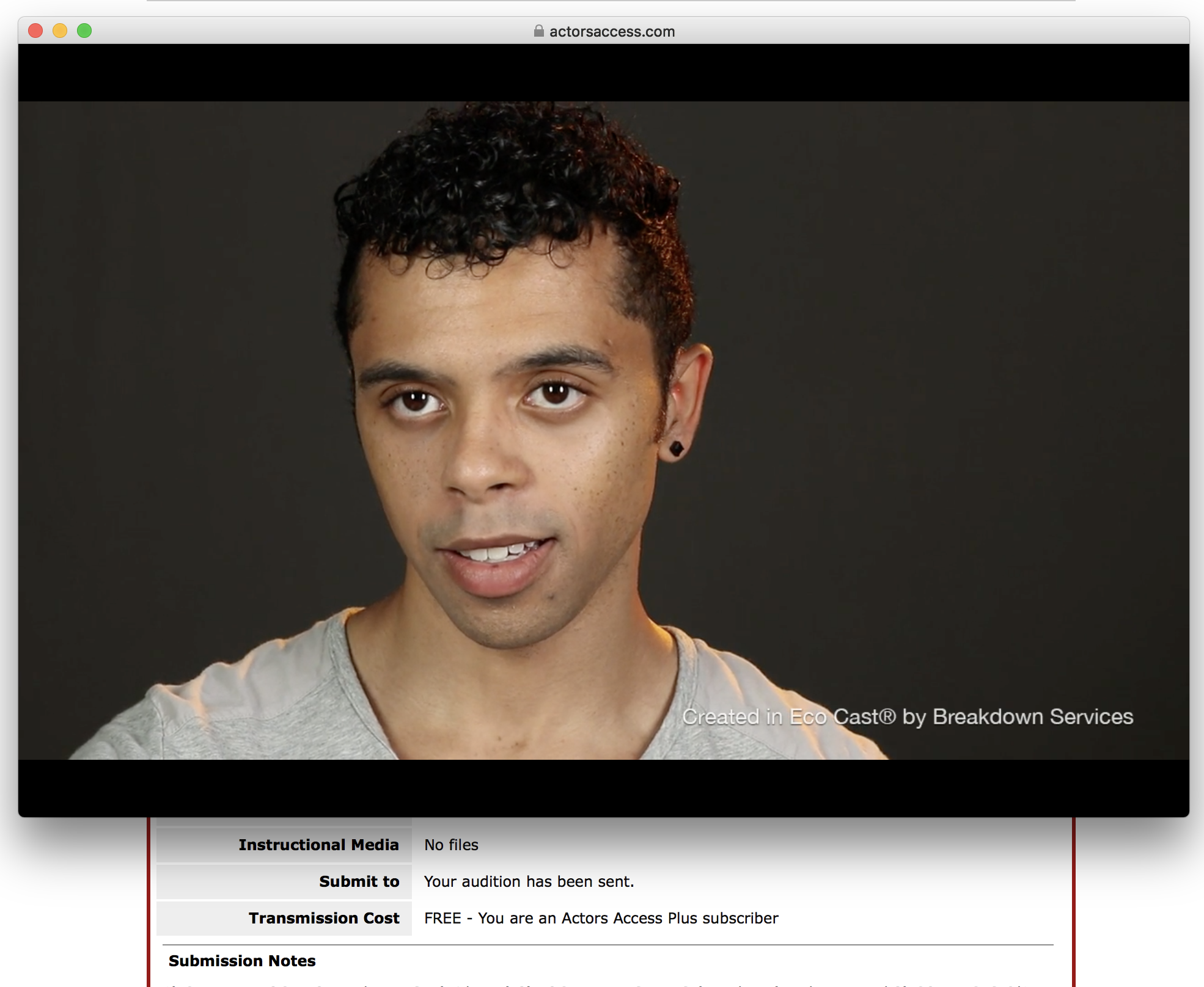 Example of VIDEO AUDITION UPLOADED TO ACTORS ACCESS -