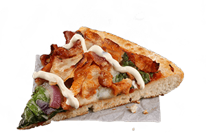GARLIC CHICKEN & BACON RANCH - Tender chicken, crispy rasher bacon, spinach and red onion, topped with a creamy ranch sauce and served on a pizza sauce base with zesty garlic sauce.