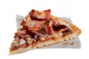 BBQ STEAK AND BACON - Tender steak, crispy rasher bacon and red onion topped with BBQ sauce.