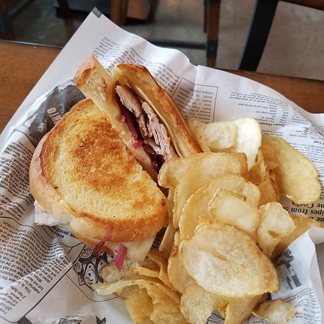 Grilled cheese of the day Turkey swiss and sweet pickled onions with balsamic glaze