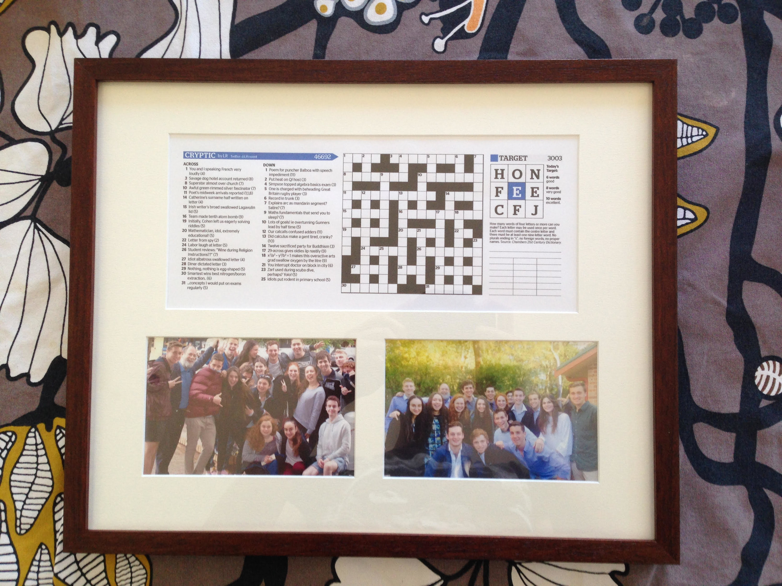 The giver of this puzzle got it framed and added photos - a nice touch!