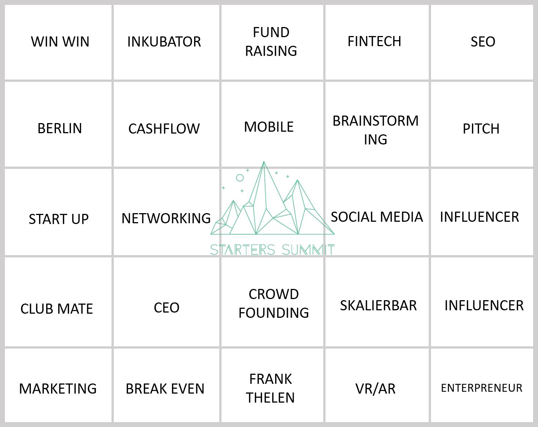 DIe Regeln:    Wenn drei Begriffe in einer Reihe beim Starters Summit fallen, dann StartUp-Bullshit-Bingo rufen!