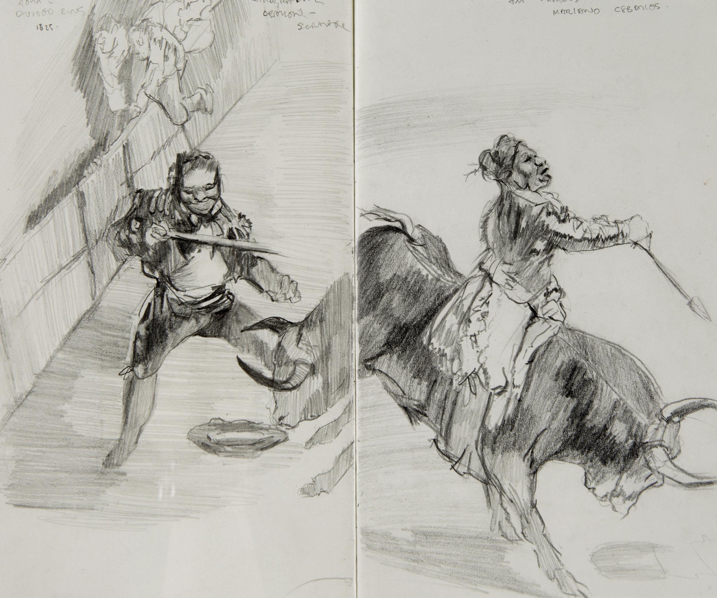 Sketchbook studies after 'La Tauromaquia,' 1816, Francisco de Goya