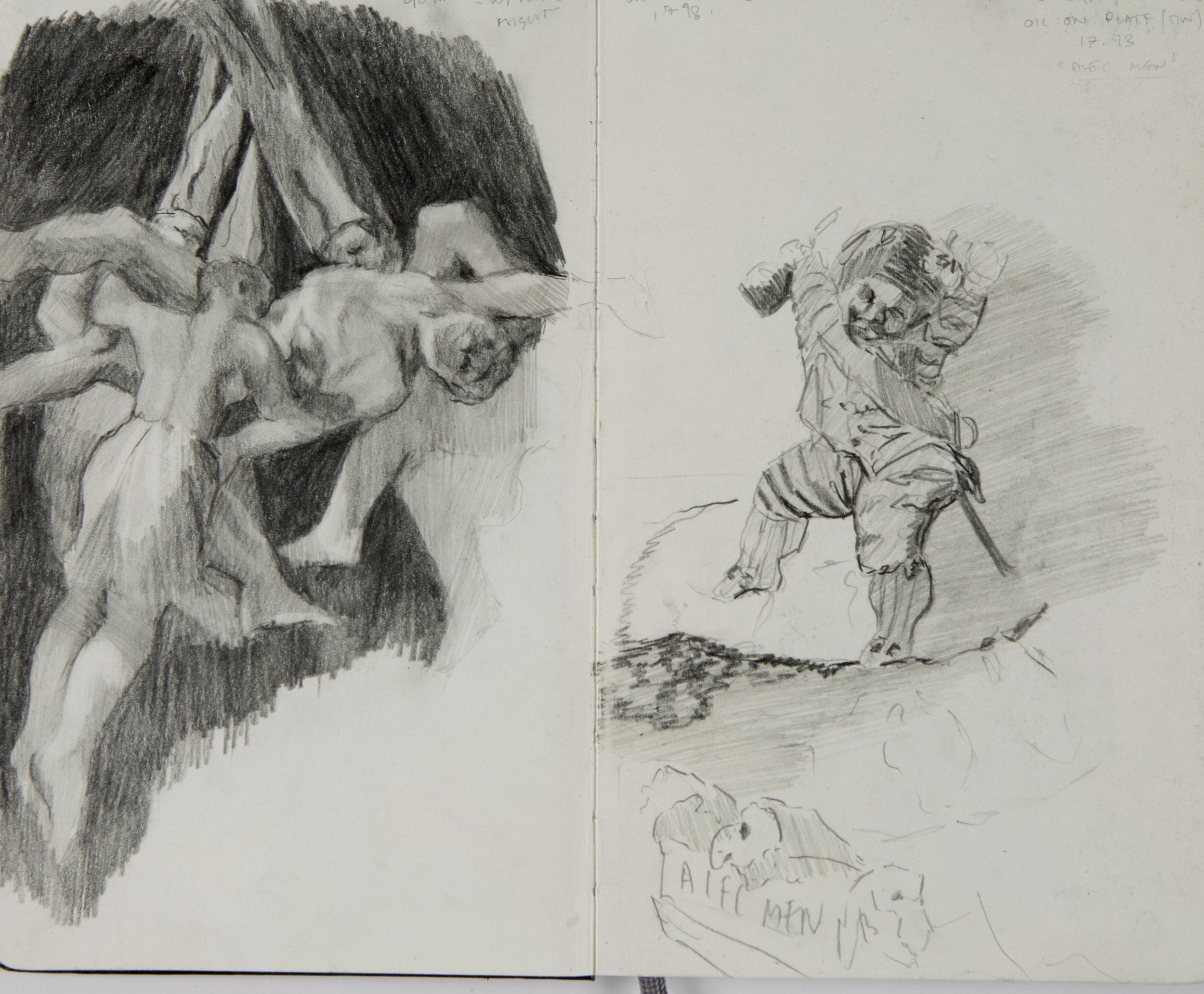 Sketchbook  studies, after 'Witches Flight,' 1798, 'Strolling Players Art Musique,' Francisco de Goya