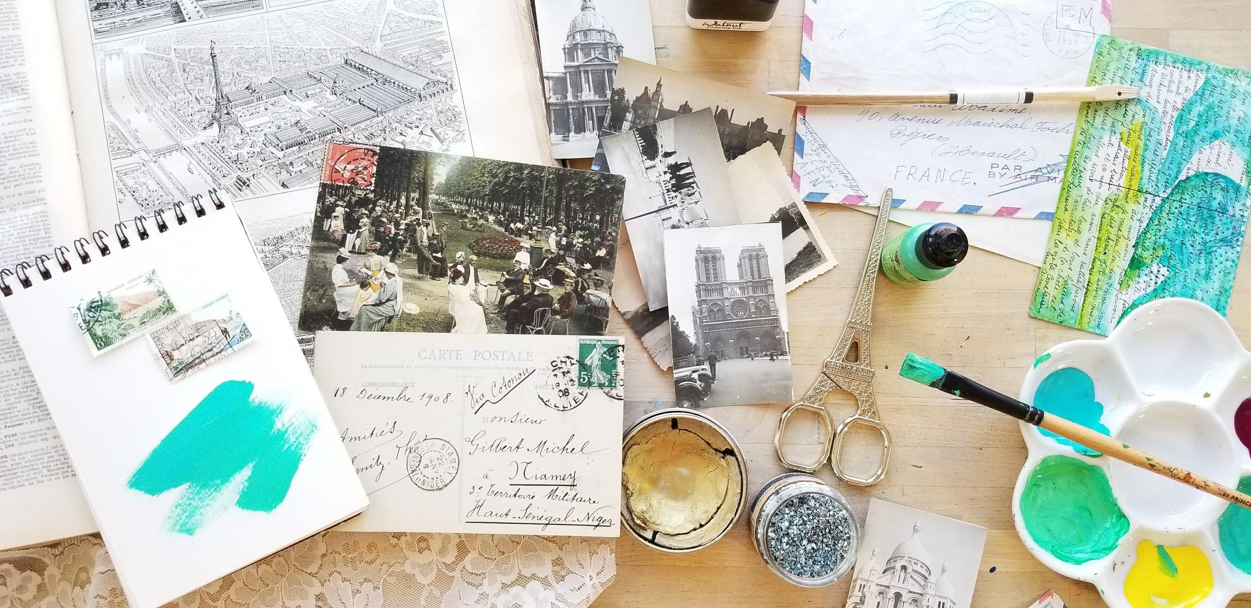 Postcards from Paris, mixed media retreat with Kellee Wynne Studios 5.jpg
