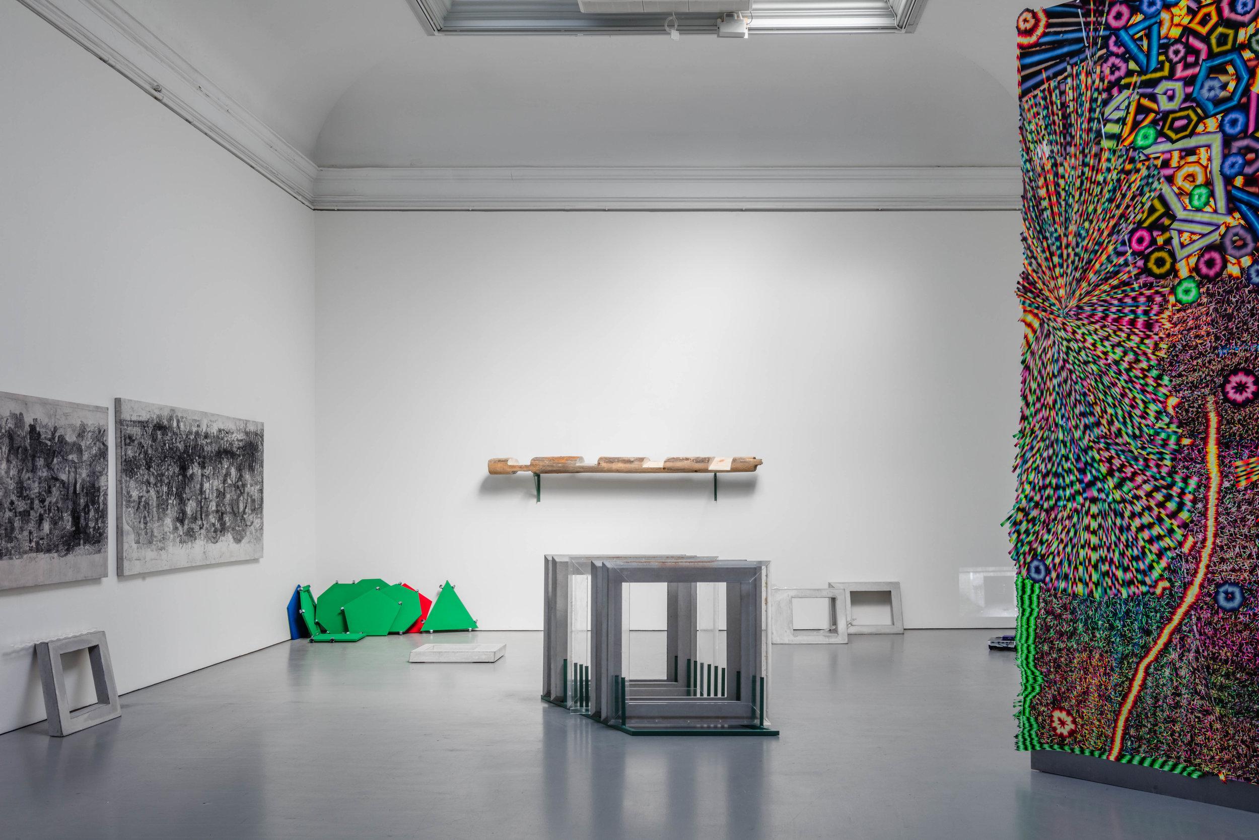 Paintings on left: Anna Engver (https://annaengver.com/), partly visible installation on right: Olivia Petterson Fleur (https://www.kkh.se/people/olivia-fleur/)