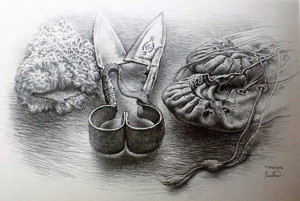 Blades, Sheath and moccasins by Martin Bentham