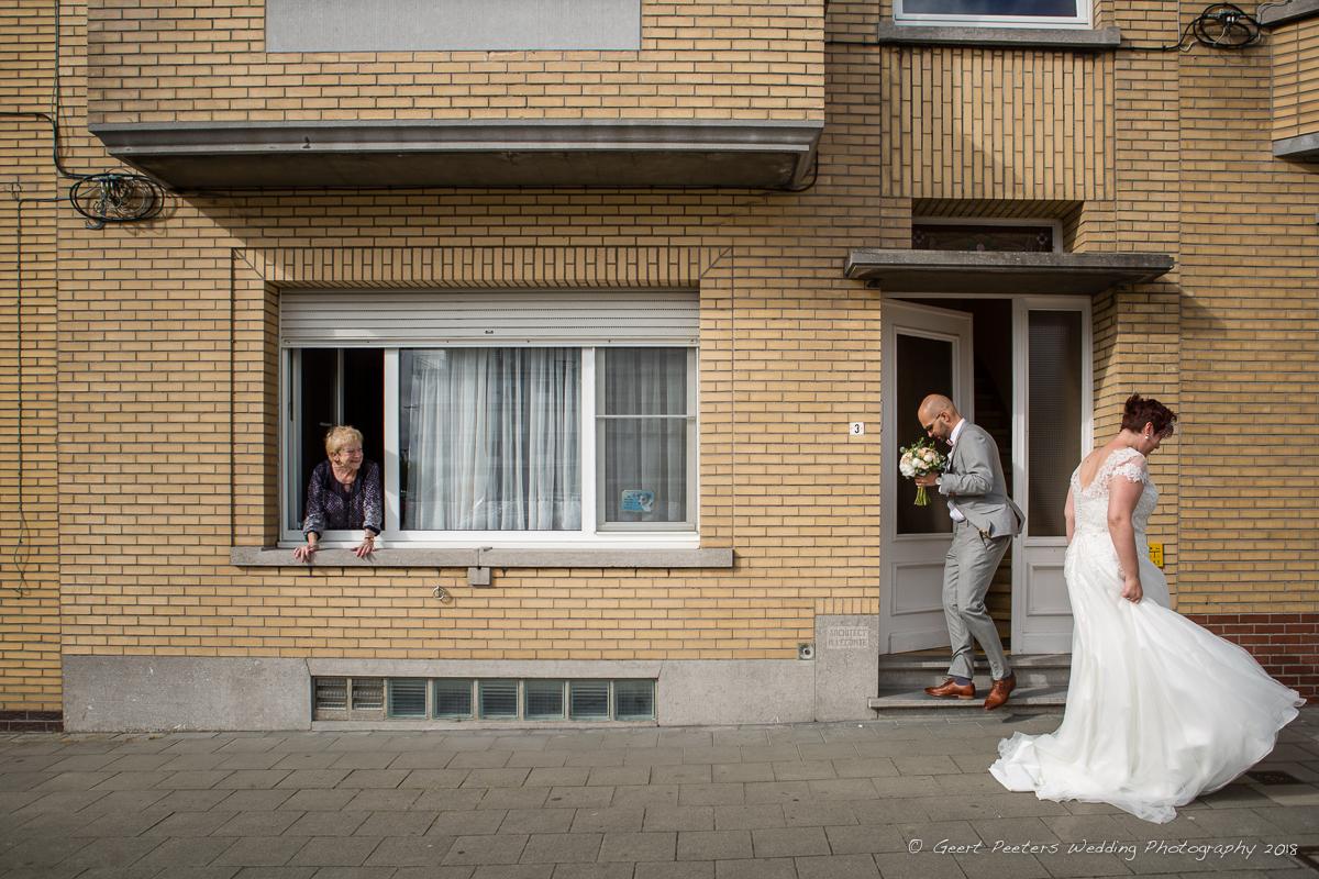 first look Oostende trouw foto bruid en bruidegom
