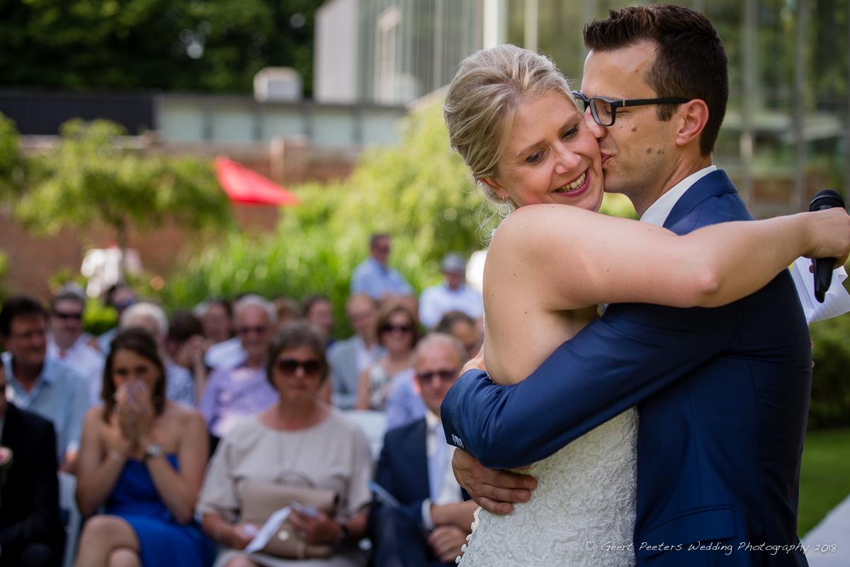 Hof ven Beatrijs Lier trouw ceremonie bruid en bruidegom foto
