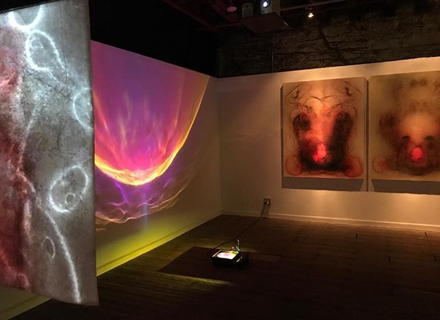 "Installation photo of ""Embodied"" two person exhibition with Laurent Fort. Curated by Megan Suttles"