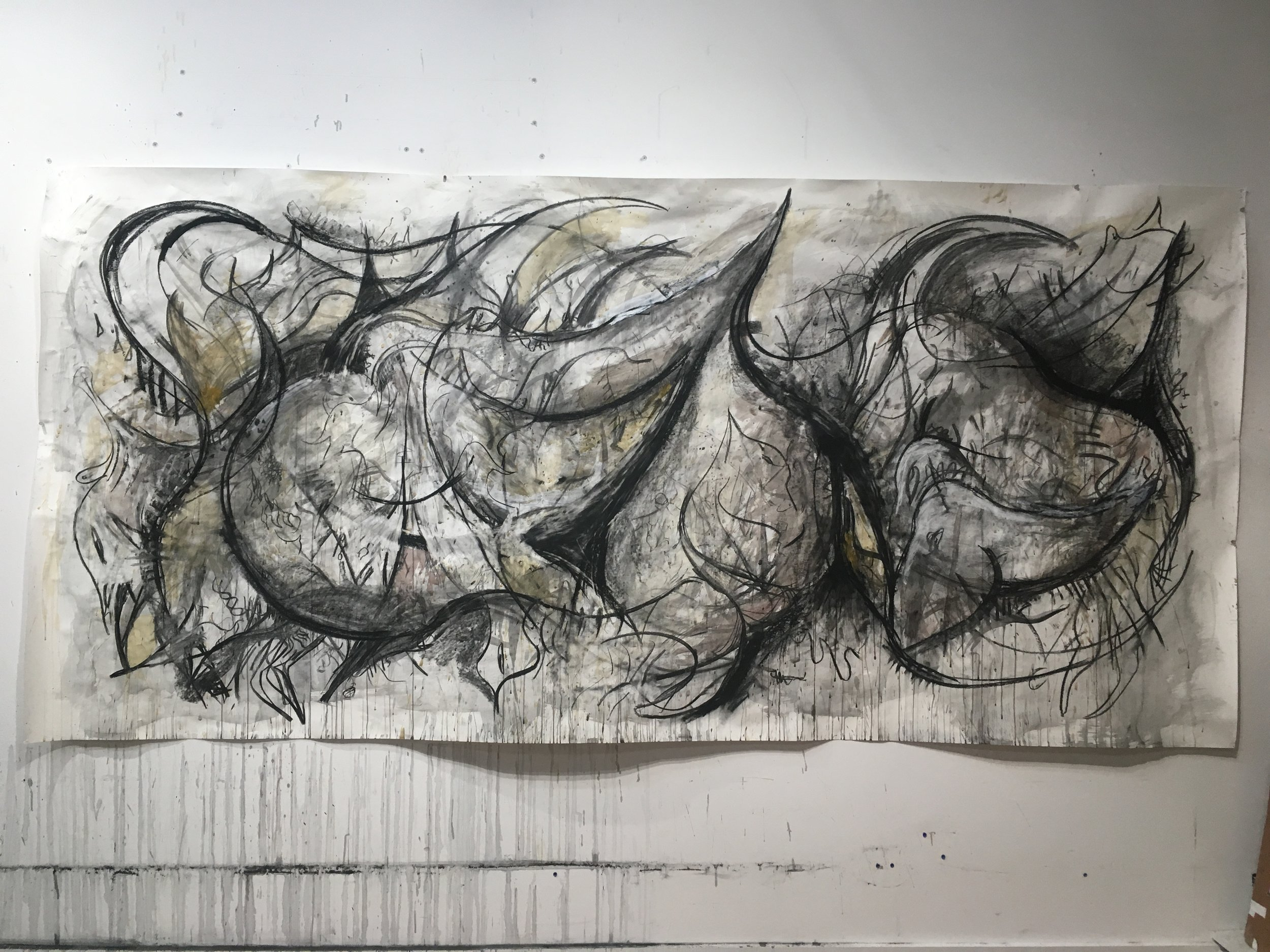 Untitled, 2017 charcoal and ink on paper, 48 x 97 in.