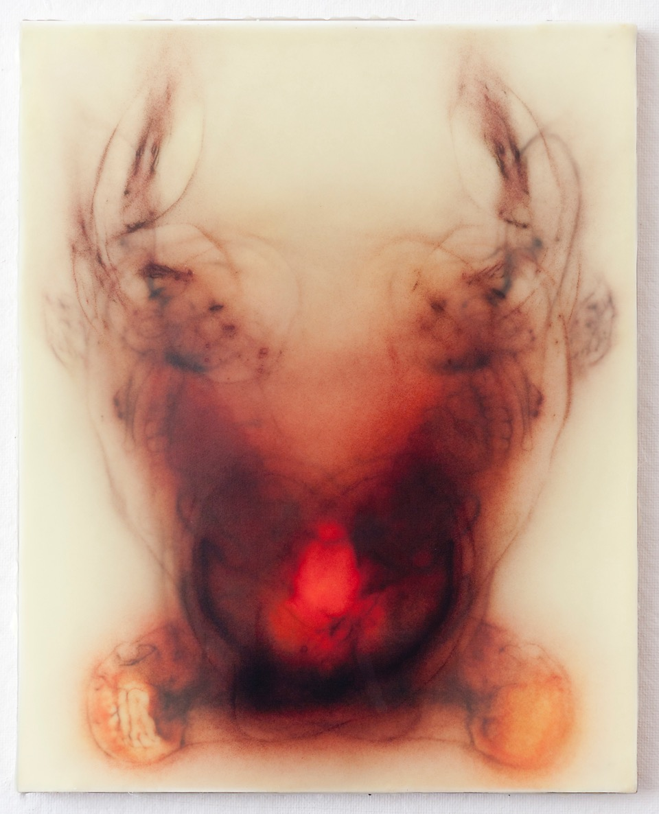 Every Angel Is Terror, 2014 silk and encaustic on panel, 60 x 48 in.