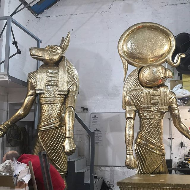 A clearer look at our statue puppets for @josephmusical designed by @morgysnaps sculpted and mechanised by us. You can see them doing their bit at the London Palladium alongside @jdonofficial. Our small part of a fantastic production.  #sculpture #puppets #puppetmechanism #anubis #ra #egyptian #gold #puppetry #props #josephandtheamazingtechnicolordreamcoat #josephsback #fiberglass #grp #giantpuppets #musical #londonpalladium #london #westend #jasondonovan #leviathanworkshop #propmaking #whatcanwemakeforyou
