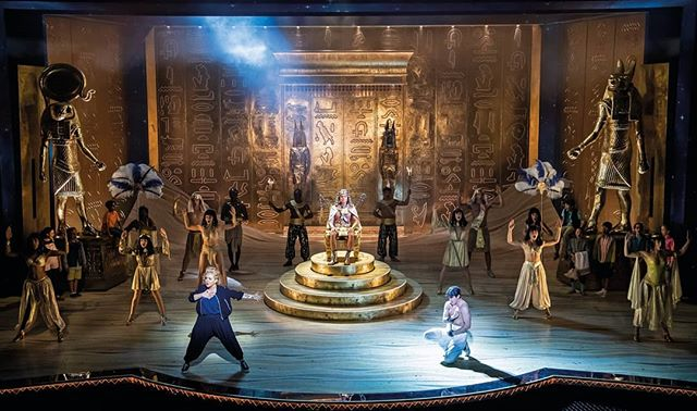 The full effect of the beautiful set design by @morgysnaps for @josephmusical. Our giant statues with @jacyarrow @sheridansmithster @jdonofficial. It all looks incredible and is getting a fantastic response.  Here is a secret, the hieroglyphics on the bases are all names of people who worked on the puppets. An incredible team effort.  #josephsback #josephandtheamazingtechnicolordreamcoat #westend #londonpalladium #theatre #music #andrewlloydwebber #timrice #puppets #puppetry #hieroglyphics #sculpture #egyptian #puppetmechanism #goldleaf #gold #polycarving #fiberglass #leviathanworkshop #whatcanwemakeforyou #whatwedo