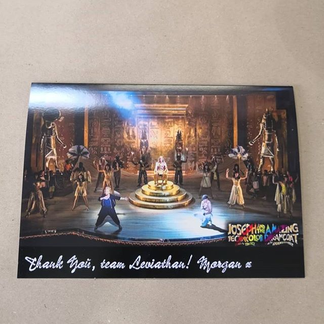 Just received this giant thank you card from @morgysnaps for our work on @josephmusical. Thank you Morgan it was a pleasure to work on and very sweet of you. Now to find a place for it!! #theatre #musical #josephandtheamazingtechnicolordreamcoat #josephsback #westend #londonpalladium #workshoplife #morganlargedesign #leviathanworkshop #sculpture #puppets #puppetmakers