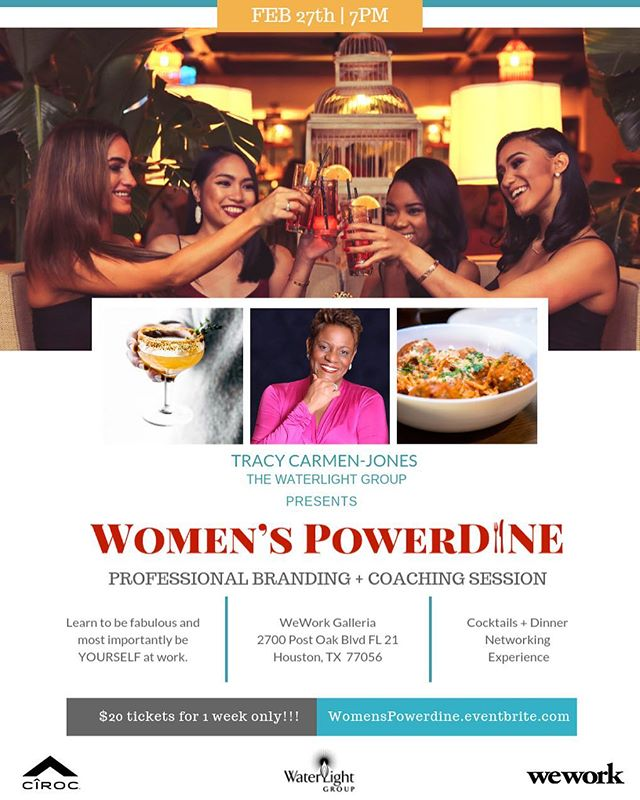 This Wednesday, Feb 27th we're hosting the #WomensPowerDINE for Houston's most diverse, innovative leaders. The event will include dinner, cocktails and conversation that will take your professional branding to the next level. 📈 . It's more than an event and more than just a workshop. It's about leaving your old self behind & returning with new vision, new skills, and new perspectives for life in business! . RSVP @ WomensPowerDine.eventbrite.com 📲