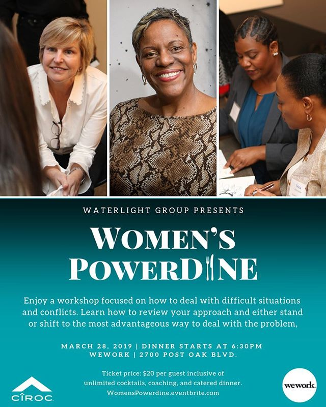 🍽 March 28th, we're hosting another #WomensPowerDINE session which will include dinner, cocktails, and conversation with Houston's most diverse, innovative leaders. . This month's workshop will be focused on how to deal with difficult situations and conflicts. Learn how to review your approach and either stand or shift to the most advantageous way to deal with the problem. . RSVP @ WomensPowerDine.eventbrite.com 📲