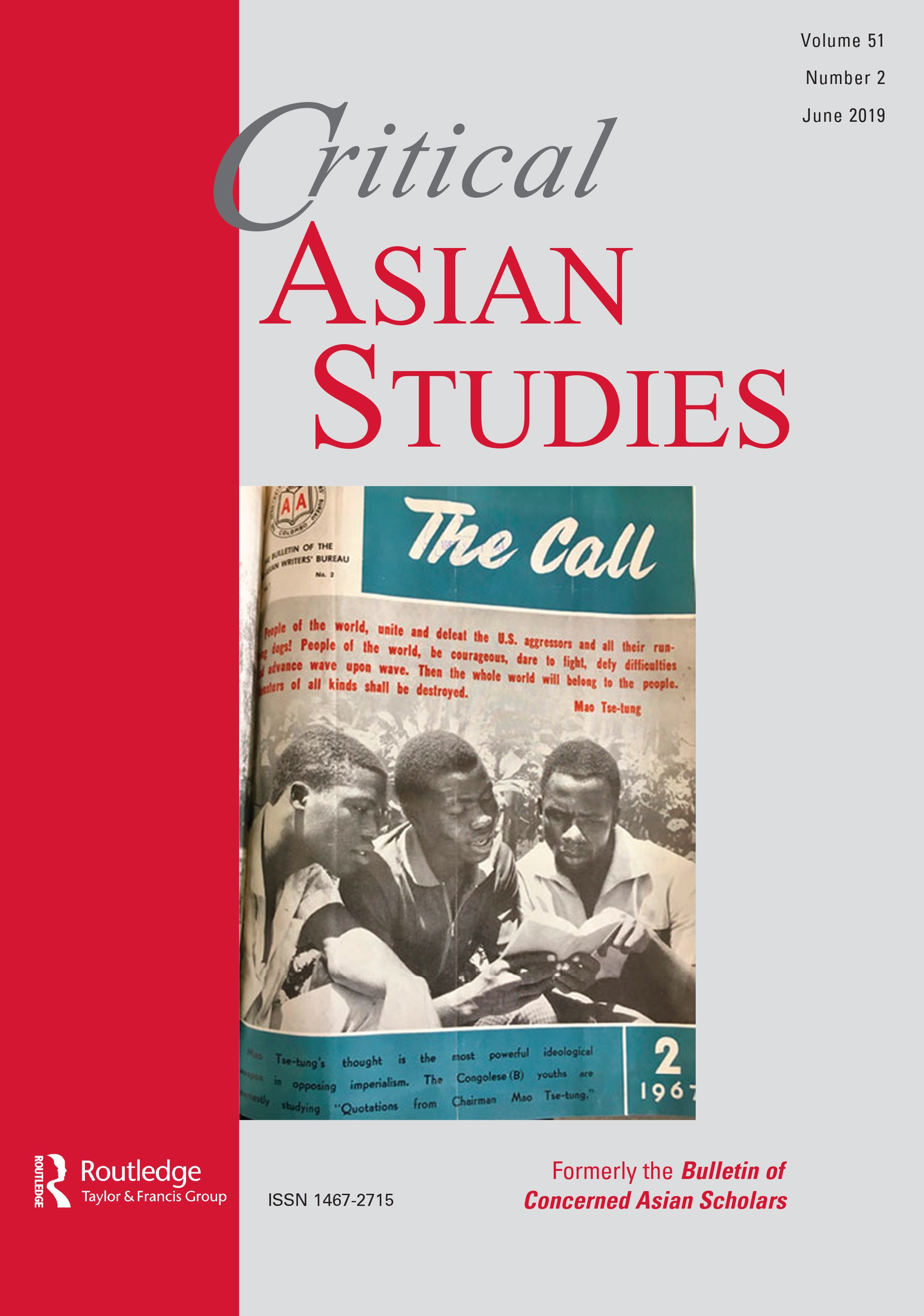 - The Call was the flagship journal of the Afro-Asian Writers' Bureau, which was established in 1958 in the wake of the first Asia-Africa Conference held at Bandung, Indonesia, in 1955. This 1967 cover features young men from Congo-Brazzaville reading Mao Zedong's Little Red Book. Source: The Call 2 (1967).