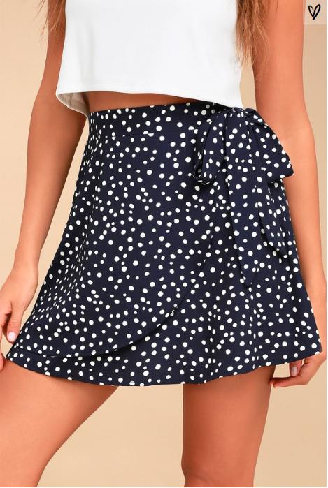 Lulus navy polka dot skirt