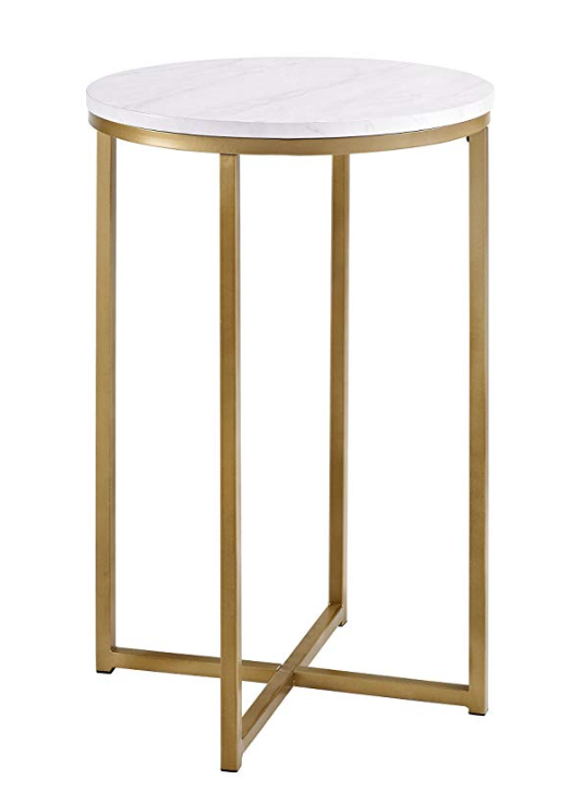 """WE Furniture 16"""" Round Side Table - Faux Marble/Gold"""
