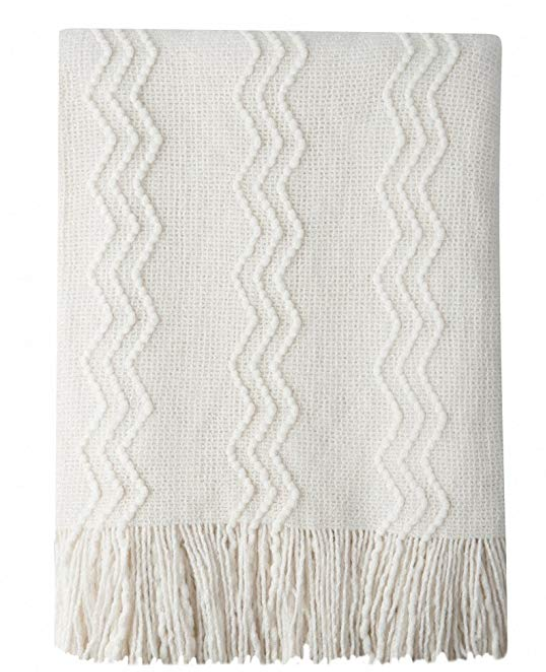"""Bourina Throw Blanket Textured Solid Soft for Sofa Couch Decorative Knitted Blanket, 50"""" x 60"""",Off White"""