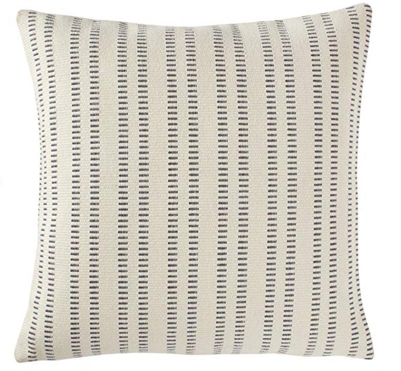 "Stone & Beam French Laundry Stripe Pillow, 17"" x 17"", Ivory, Grey"