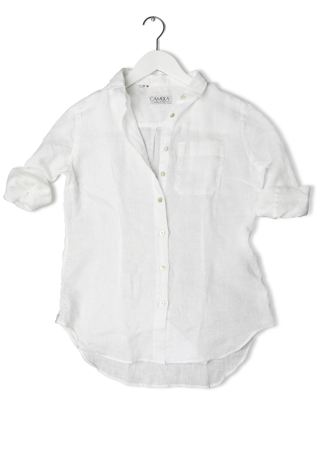 Camixa Lina White Linen Shirt
