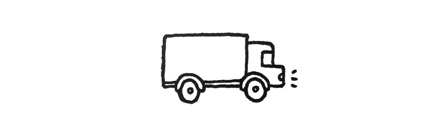 An illustration of a truck shipping products