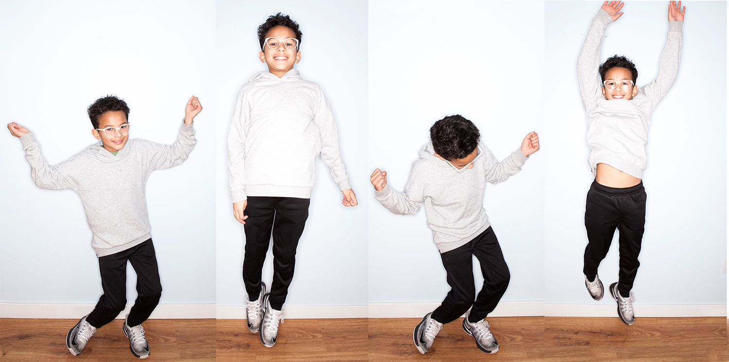 Multiple shots of a kid jumping and having fun