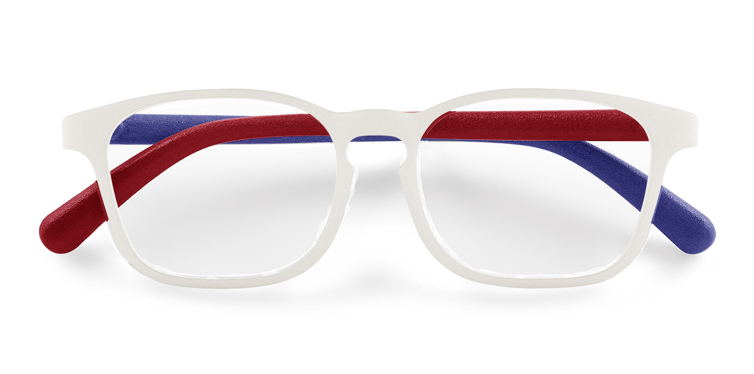 Fitz Frames glasses shown in the colors of the USA, red white and blue