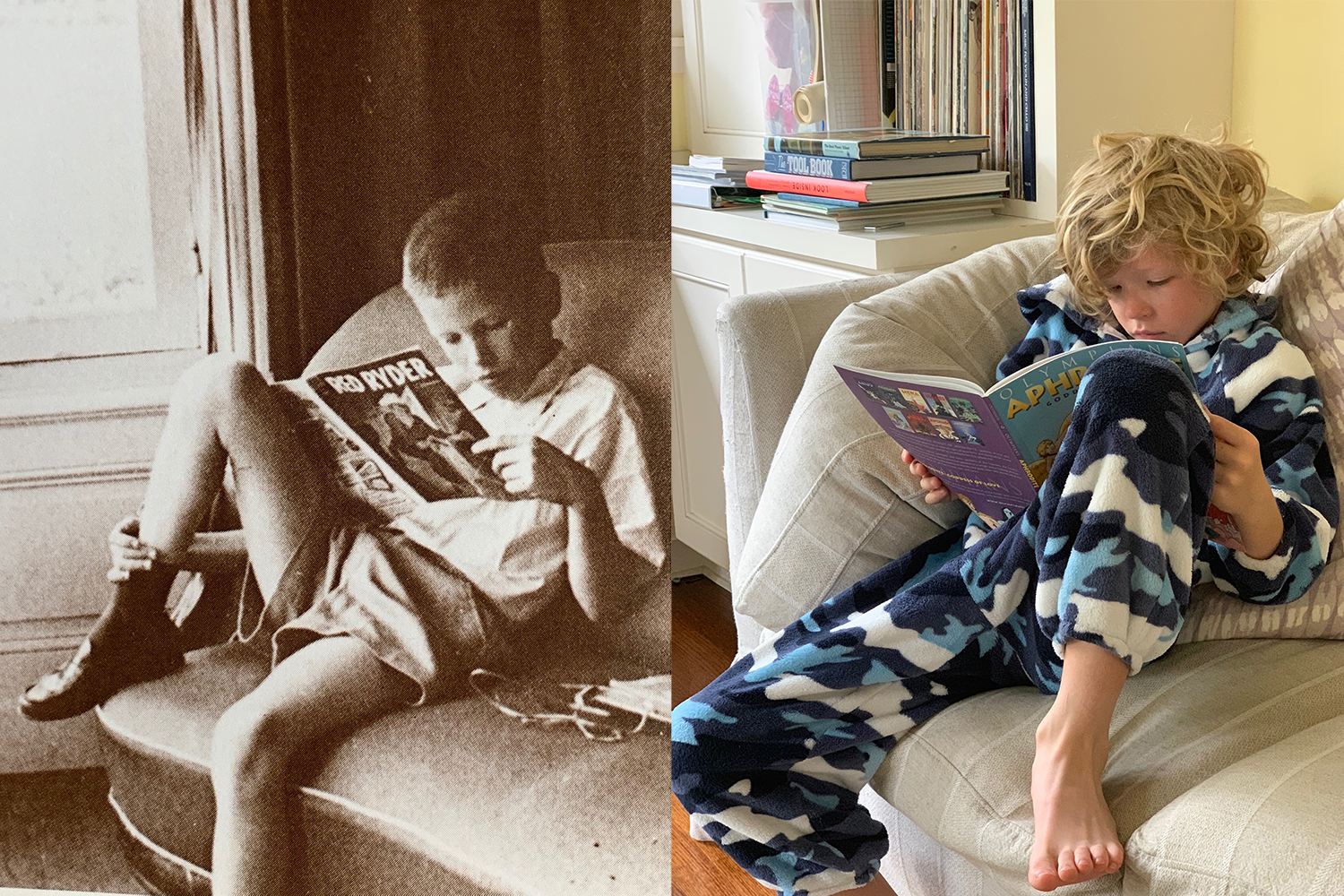 My father and my son. About the same age and sixty years apart. Both in a rare moment without their glasses.