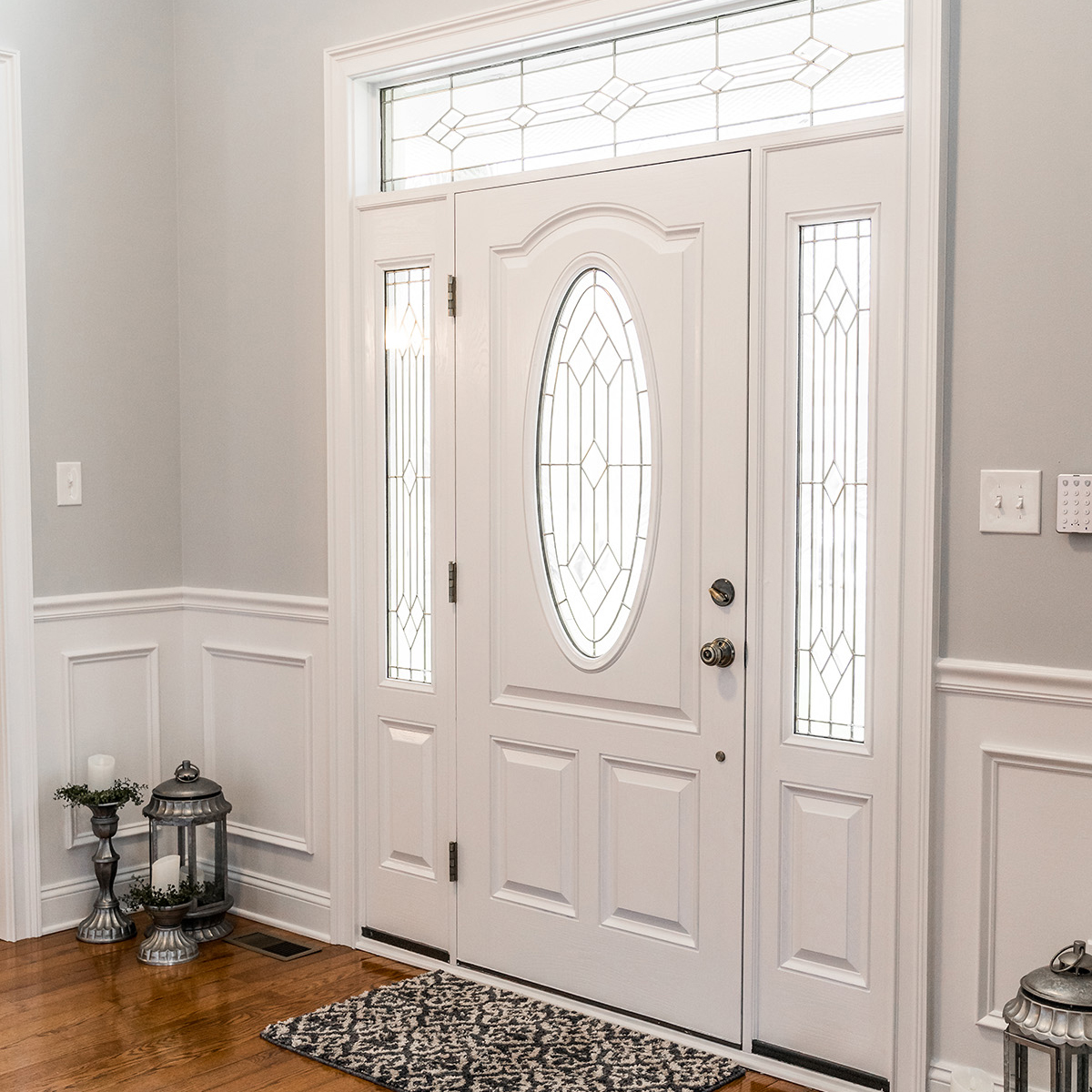 Quality home renovations in Pilesgrove, NJ | Beautiful white and gray entryway and front door.