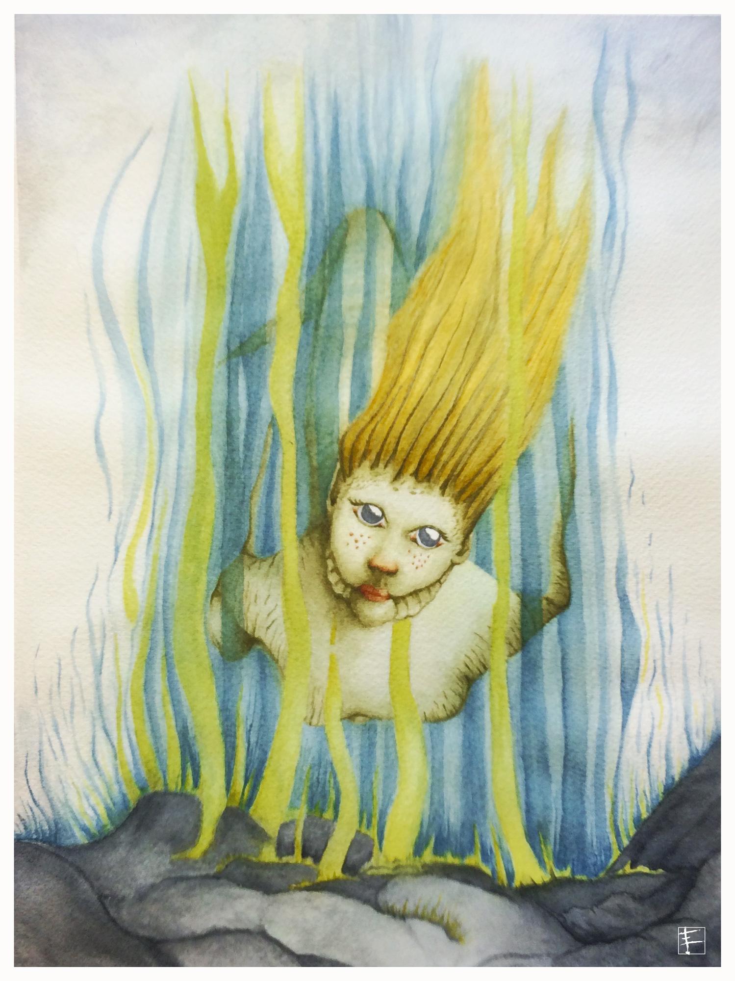 A - L'Asrai est une petite fée aquatique. Leur grande beauté fascine les pêcheurs (anglais) depuis la nuit des temps. Elle est une timide sirène et elle redoute la lumière du jour qui lui est fatale, préférant nager au clair de la lune. Son corps est clair et froid mais si on tente de la priver de sa liberté, elle brûle la peau de leur ravisseur.(réf. Wikipédia)