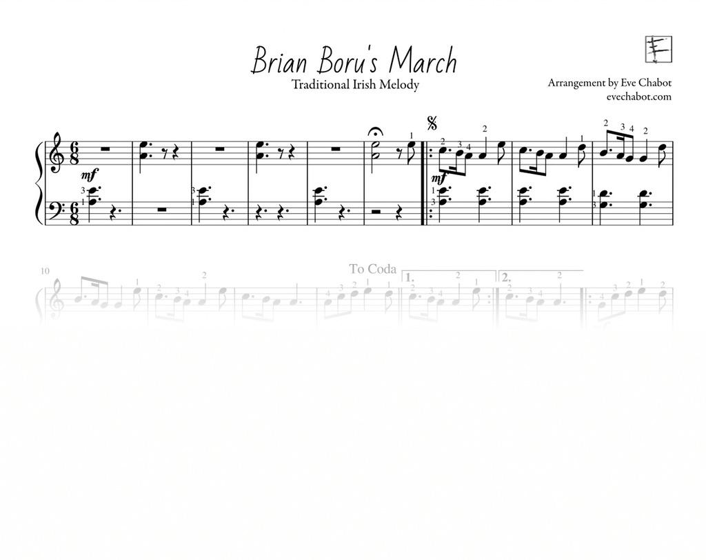 - Pages: 1Composer: Traditionnel / TraditionnalArranger: Eve ChabotLevel: Débutant / BeginnerHarpe: Celtic, Pedal, Lap harp