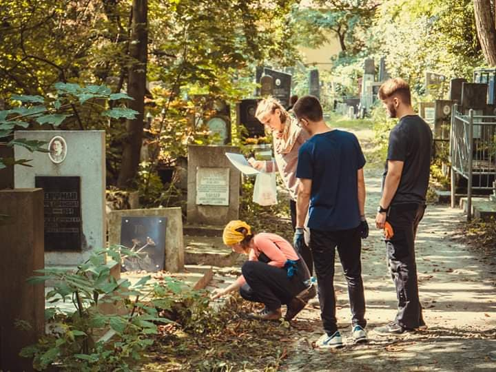 Restoring a cemetery - During road construction in 2018, Jewish tombstones were uncovered from where German occupiers had used them to pave the road in 1941. In the Jewish cemetery of Lviv, MJF and RAJMN volunteers helped with moving, cleaning and identifying tombstones in preparation for a Wall of Memory memorial.