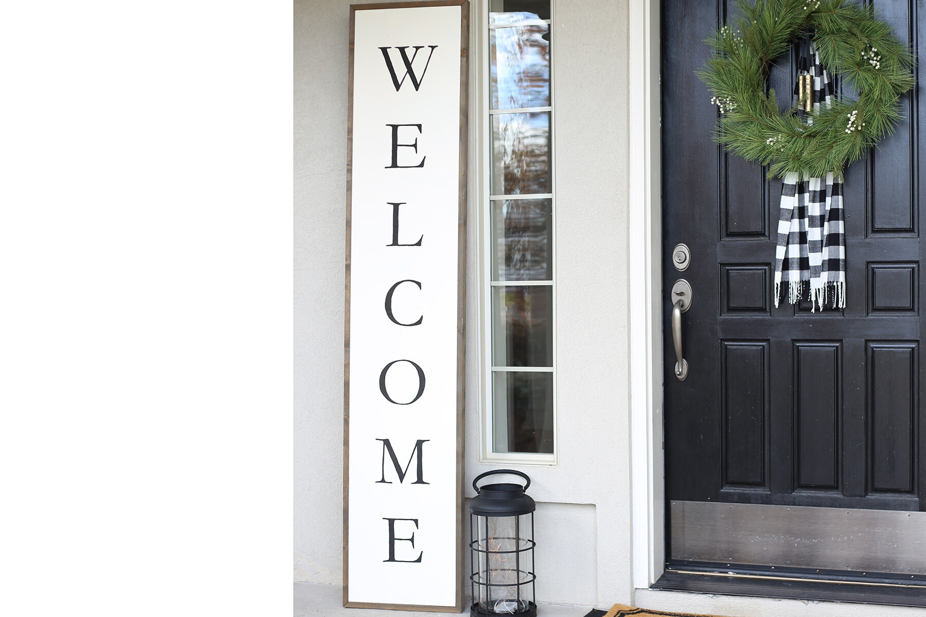 """OVERSIZED WELCOME SIGN    Come make the perfect """"welcome"""" for anywhere- a giant 7 ft by 1 ft wood 'Welcome' sign. You will choose your own stain color, paint everything by hand (don't worry, we will show you just how to do it), use some power tools and go home with a sign that's front porch ready! Ages 16+    Tuesday, Oct 8th at 10:00am and 7:00pm"""