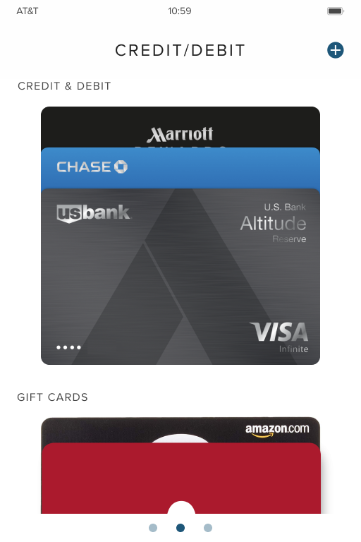Payment Cards(Main) Page (One-swipe away to other card types)