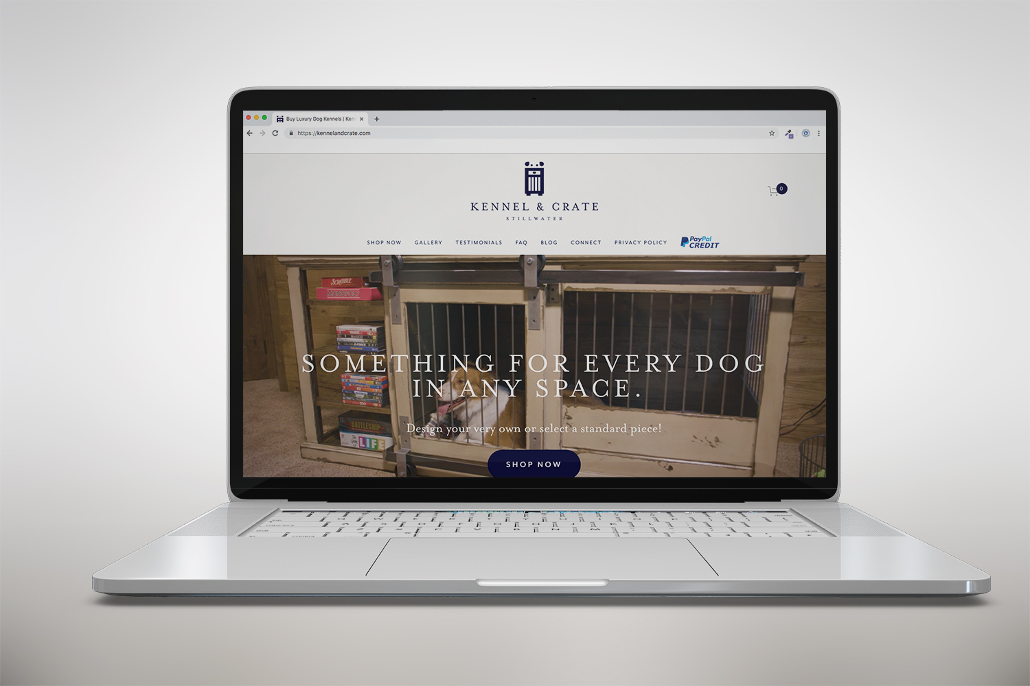 Kennel & Crate Website on a Laptop