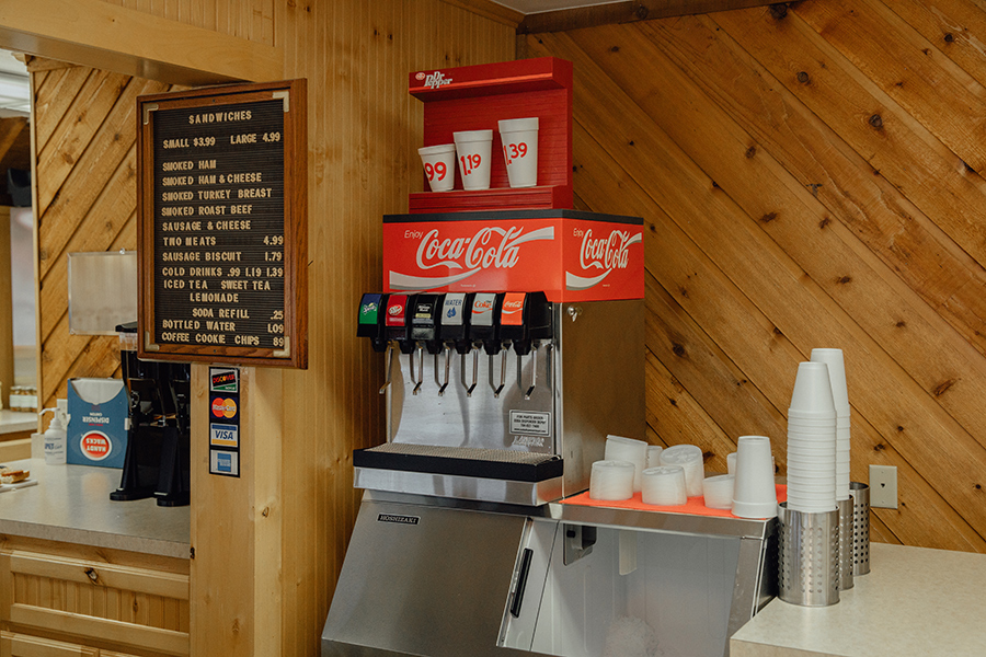 drink machine at Robertson's Hams