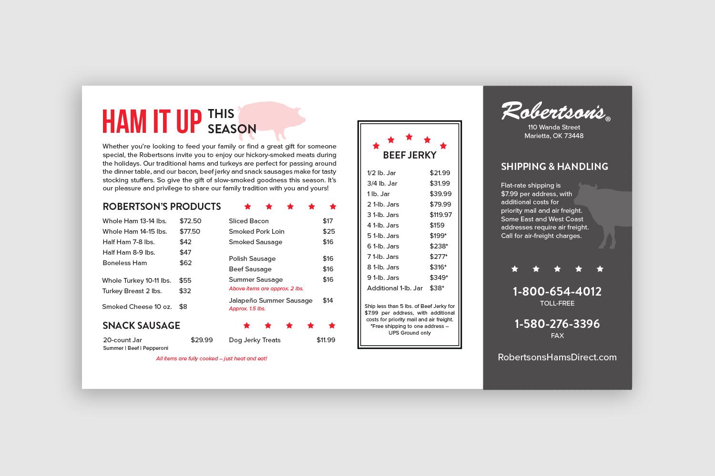 Robertson's Hams Direct Mail Card