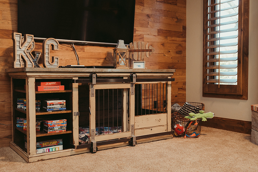 custom built dog kennel as a television stand