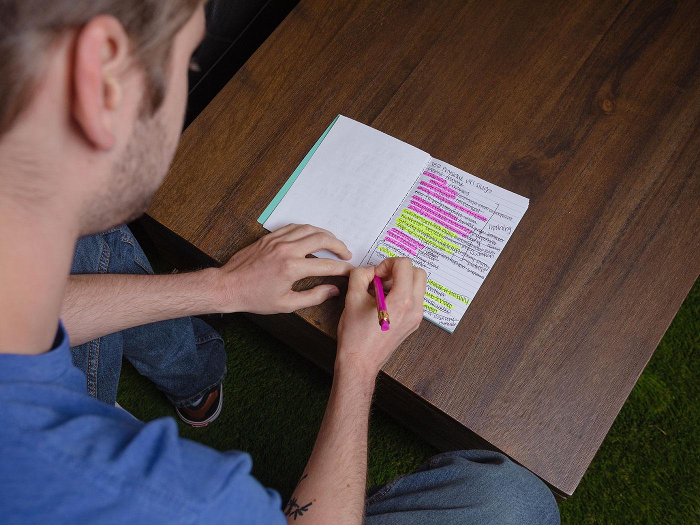 designer taking notes
