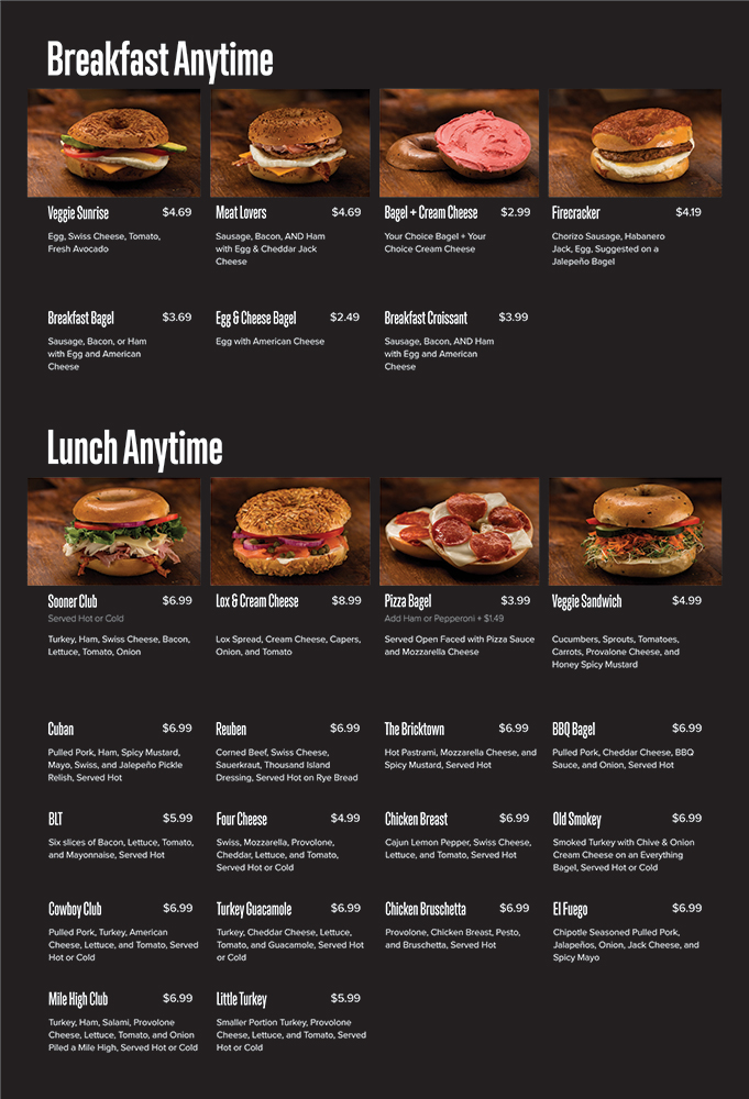 Old School Bagel Lunch Menu