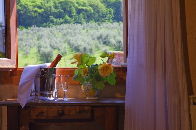 vacanza romantica con spumante in alloggio camera vista vigne.jpg