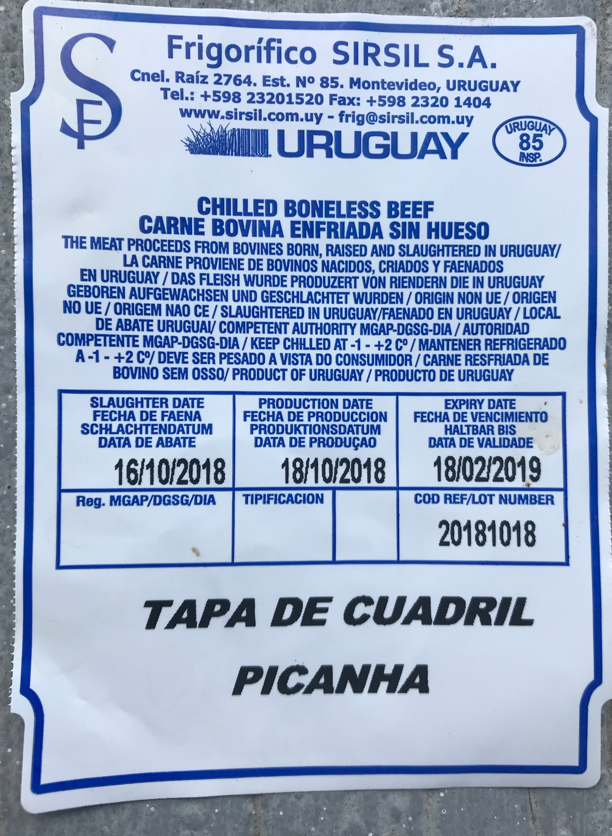 certificate of authenticity - Uruguayan beef has world-class quality control